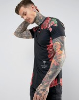 Hype T-Shirt In Black With Floral Print