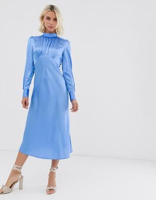 ASOS DESIGN high neck midi satin tea dress in blue