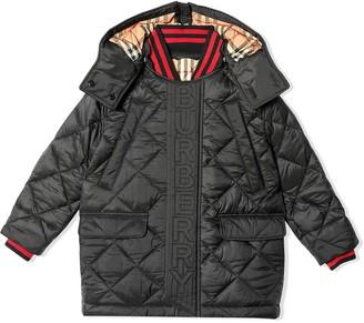 BURBERRY KIDS Detachable Hood Logo Detail Coat