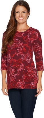 Denim & Co. Floral Printed Brushed Heavenly Jersey 3/4 Sleeve Top
