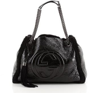 Gucci Soho Chain Strap Shoulder Bag Patent and Shearling Medium