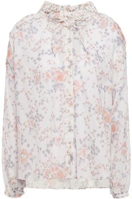 Maje Cerise Ruffle-trimmed Floral-print Cotton-voile Blouse