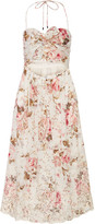Zimmermann Eden Cutout Broderie Anglaise-trimmed Printed Cotton Dress - Off-white