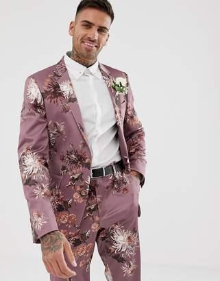 Asos Design DESIGN wedding skinny suit jacket with pink floral print