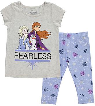 Children's Apparel Network Girls' Leggings BEIGE - Frozen Beige & Blue Snowflake 'Fearless' Crewneck Tee & Leggings - Toddler & Girls