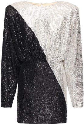 Rotate by Birger Christensen Billie Sequined Two Tone Mini Dress