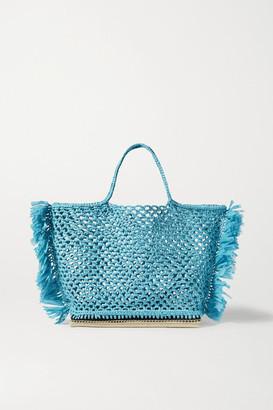 Altuzarra Espadrille Large Fringed Raffia Tote - Blue