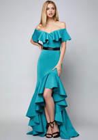Bebe Mae Ruffled Hi-Lo Gown
