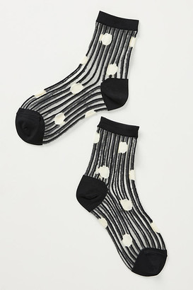 Hansel from Basel Dot Sheer Crew Socks By in Black Size ALL
