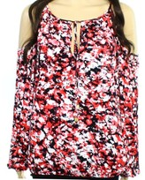 Michael Kors Red Black Women's Size XS Abstract Print Knit Blouse