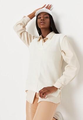 Missguided White V Neck Sleeveless Knit Jumper Vest