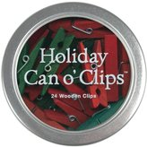 Cavallini & Co. Accessories, Holiday Can O' Clips, 24 Per Tin