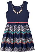 Knitworks Girls 7-16 Pleated Chevron Sleeveless Skater Dress