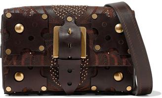 Valentino Embellished Canvas And Leather Shoulder Bag