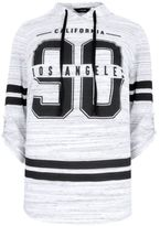 Yours Clothing YoursClothing Plus Size Womens Print Varsity Hooded Jumper Athletic Sports