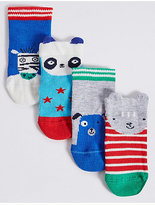 Marks and Spencer 4 Pairs of Cotton Rich Novelty Socks (0-24 Months)
