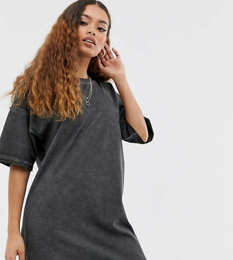 Asos DESIGN Petite oversized t-shirt dress with raw edge-Black