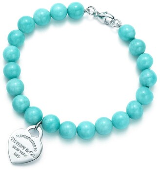 Tiffany & Co. Return to TiffanyTM small heart tag in silver on an amazonite bead bracelet