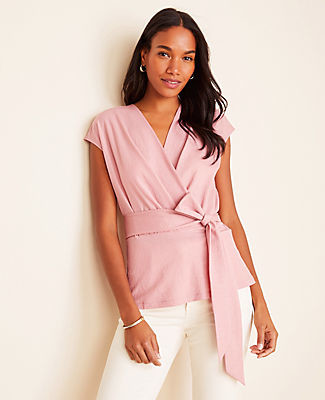 Ann Taylor Cap Sleeve Wrap Top