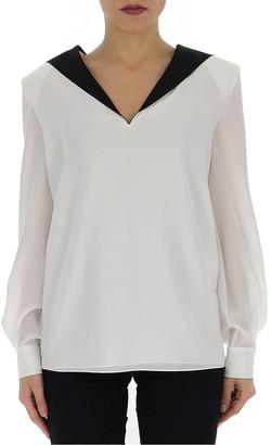Givenchy Contrast V Neck Collar Blouse