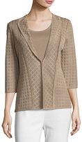 Misook Lattice Textured 3/4-Sleeve Jacket, Light Brown, Plus Size