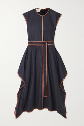 Stella McCartney Eloise Belted Asymmetric Vegetarian Leather-trimmed Wool-flannel Dress - Navy