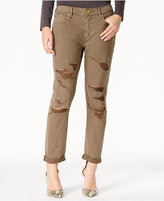 True Religion Audrey Ripped Olive Wash Boyfriend Jeans