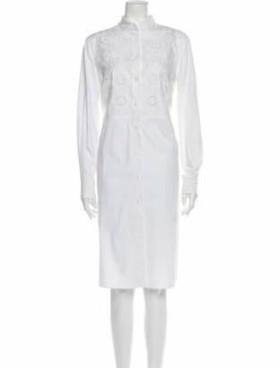 Alberta Ferretti Mock Neck Midi Length Dress White