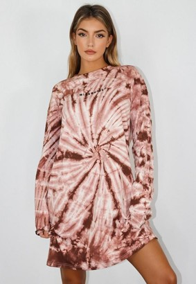 Missguided Brown Tie Dye Oversized T Shirt Dress