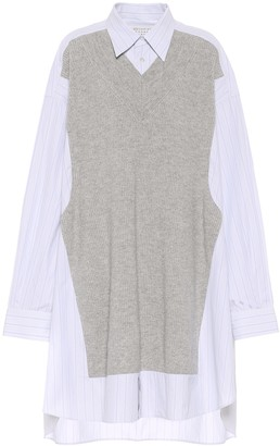 Maison Margiela Striped cotton and wool shirt dress