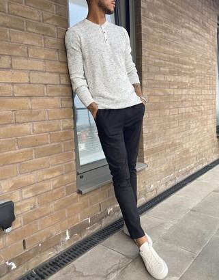 Asos DESIGN skinny chinos with elastic waist in black