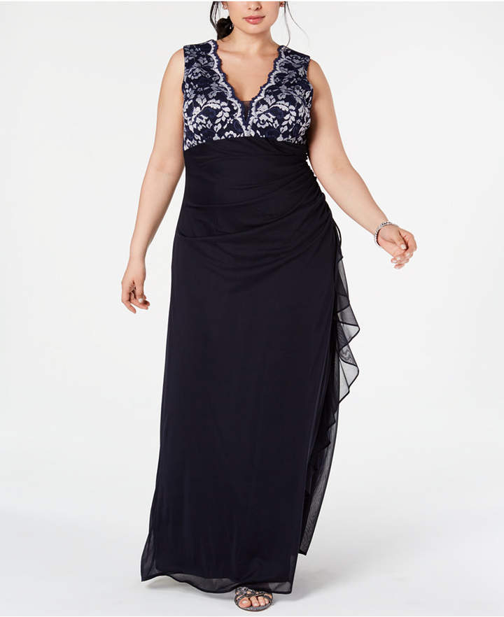Plus Size Lace-Top Ruffled Gown
