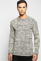 Boohoo Bagel Neck Distressed Space Knit Jumper