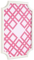 Scallop Framed Monogram Pinboard, Bright Pink Ribbon Geo, Vertical Complete