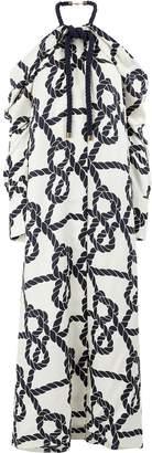Monse Rope Print Cold Shoulder Dress