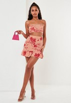 Missguided Pink Floral Print Bandeau Top Puff Ball Mini Skirt Co Ord Set
