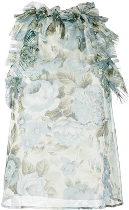 P.A.R.O.S.H. Floral Print Ruffle Trim Blouse