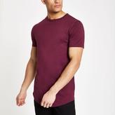 Mens Red curved hem longline T-shirt