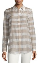 Lafayette 148 New York Brody Long-Sleeve Striped Blouse