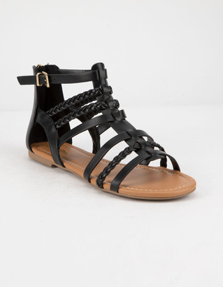 Soda Sunglasses Braid Back Zip Black Womens Gladiator Sandals