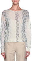 Giorgio Armani Cashmere Geometric-Print Sweater, Cream/Multi