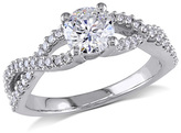 1 CT. T.W. Diamond Twist Shank Engagement Ring in 14K White Gold
