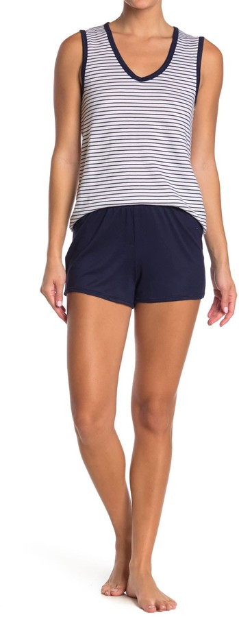 Nautica Striped Tank & Solid Shorts 2-Piece Pajama Set