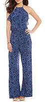 MICHAEL Michael Kors Tansy Floral Print Matte Jersey Halter Neck Wide-Leg Jumpsuit