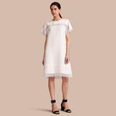 Burberry Macramé Lace Detail Silk Linen Cotton Dress