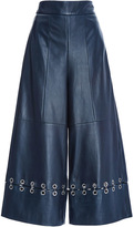 Tibi Navy Leather High Waist Pant with Metal Rings