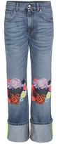 Christopher Kane Wide-leg jeans with floral appliqué