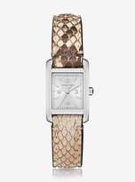 Michael Kors Taylor Silver-Tone And Python Watch