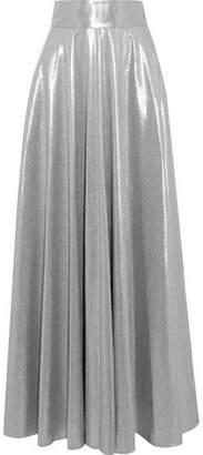 Diane von Furstenberg Pleated Lame Maxi Skirt