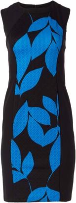 London Times Women's Cap Sleeve Round Neck Jacquard Sheath Dress